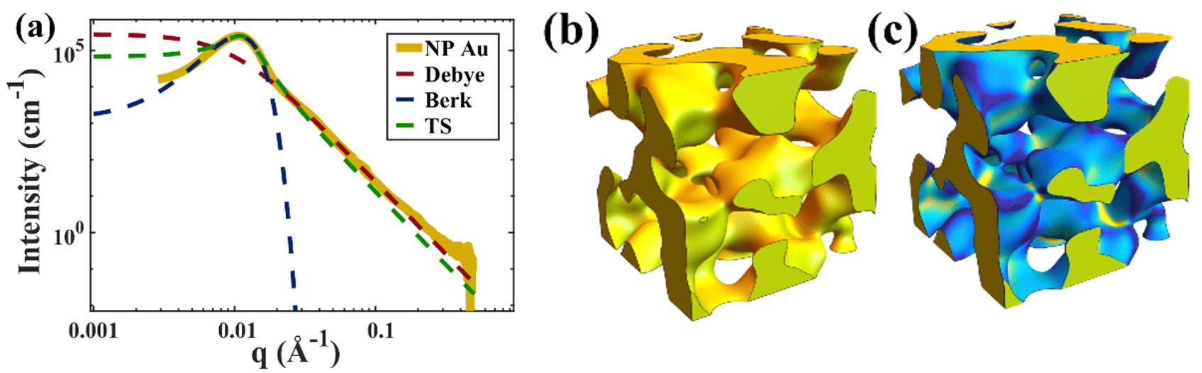Typical scattering intensity for NP-Au (gold curve) and realistic generated structures of the sample