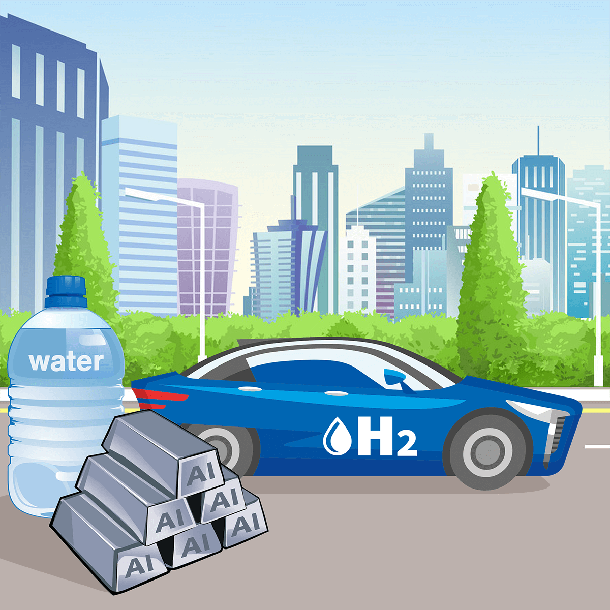 Illustration of hydrogen can with water bottle and aluminium bars